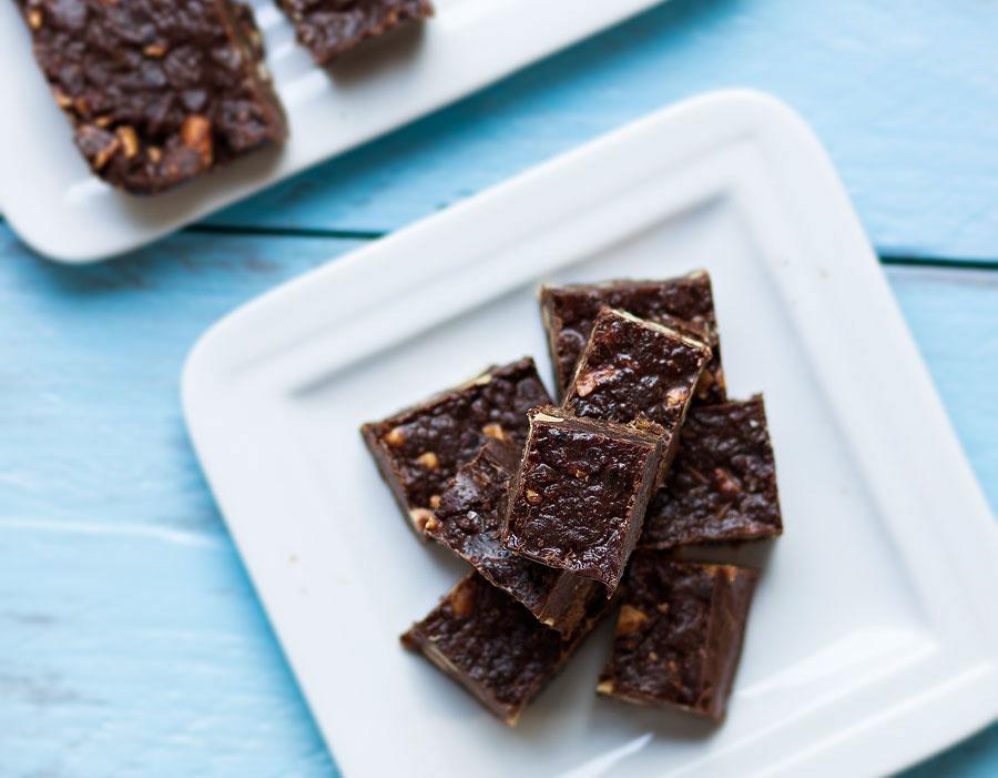 Chocolade fudge met pinda en rozijn: Gezonde variant