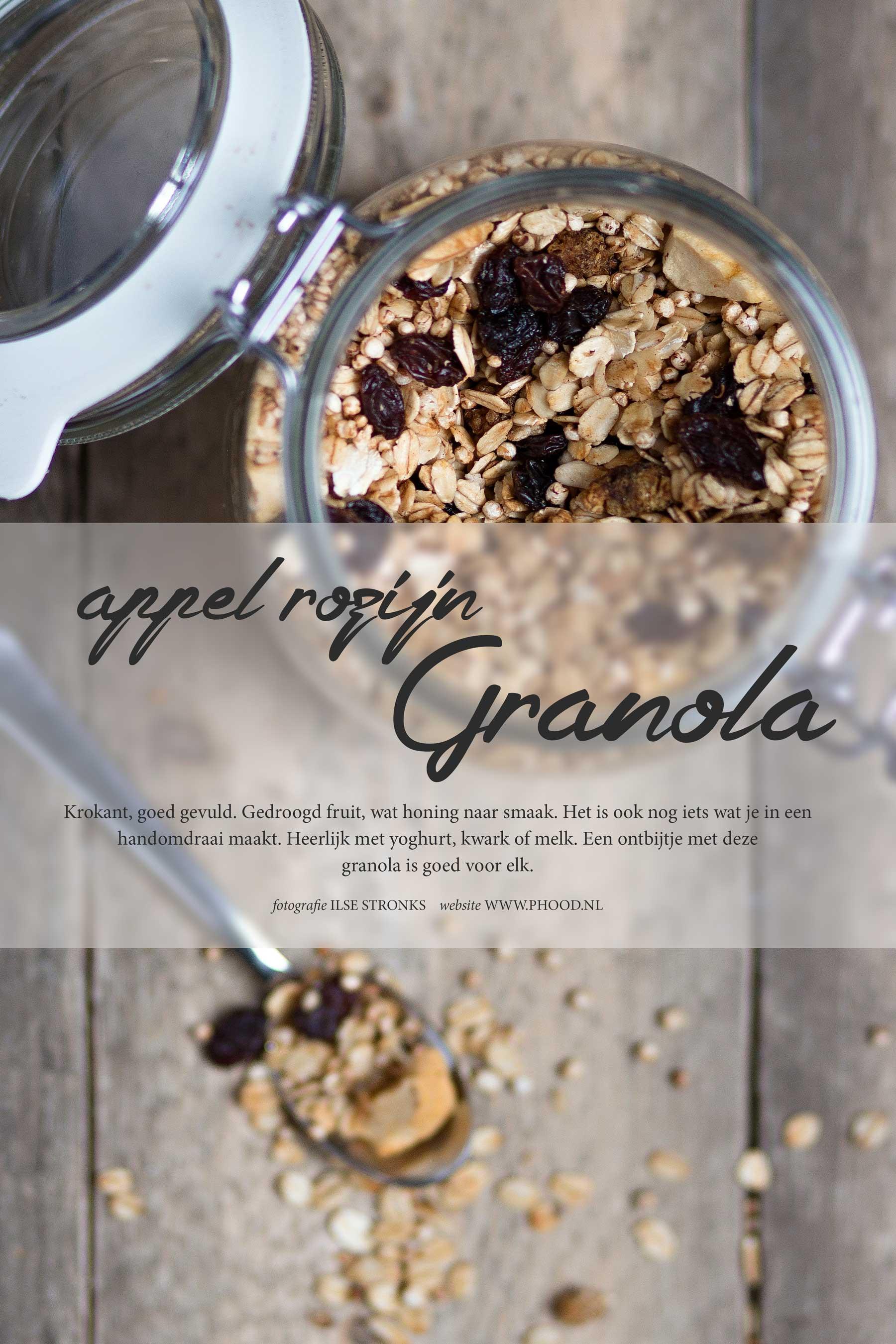 Appel-rozijn granola met kaneel